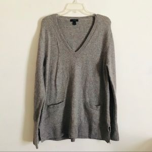 J crew V neck gray front pocket wool sweater